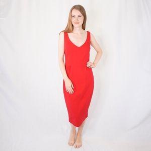 Tatyana Red Midi Dress V Neck Wiggle Stretch 0068